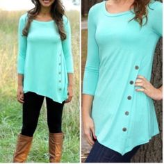 """Side Button Tunics Asymmetrical hem tops with button detail. Thinner, comfy material made a blend of polyester, rayon & spandex.  Available in pink (m) & blue/teal (s)  Small: 31"""" at longest, 26.5"""" """" at shortest, 17"""" sleeves & 16"""" bust. Medium: 32"""" longest, 28"""" shortest, 18"""" sleeves & 17"""" bust  Please ask any questions prior to purchasing - all sales are final.  • Bundle to save • Fast shipping • No trades / no holds  ⭐️Firm price⭐️ Boutique Tops"""