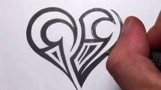Drawing a Simple Tribal Maori Heart Tattoo Design Tribal Heart Tattoos, Simple Heart Tattoos, Heart Tattoo Designs, Heart Designs, Tattoo Simple, Easy Tattoos, Simple Designs, Kids Initial Tattoos, Tribal Drawings
