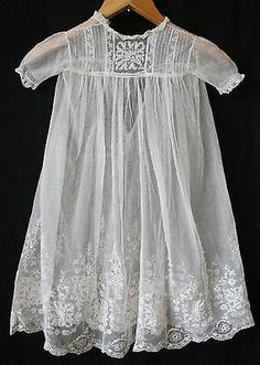 Antique English Christening Gown Dress Petticoat Tambour Lace Silk Victorian | eBay