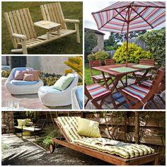 Gartenbank Und Andere Möbel Für Einen Schönen Garten Im Frühjahr.  Gartenmöbel Gartenbänke Gartengestaltung Holzmöbel Garten