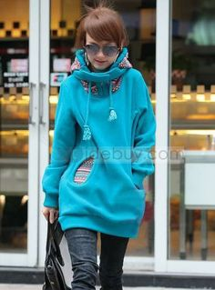 New Arrival Long Sleeve Solid Color Long Thick Hoodies : Tidebuy.com