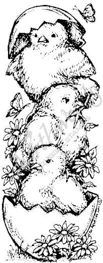 Northwoods Rubber Stamps - Wood Mounted - Dales Stacking Chicks