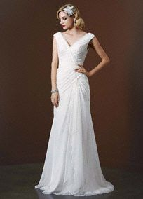 Actually might be perfect. Step back in time with this gorgeous chiffon sheath wedding gown reminiscent of Old Hollywood glamour!  Deep V necklinebodice features sparkling sequin tulle detail.  Chiffon light weight gown with side draped createsa stunning and flattering silhouette  Sizes 0-14. Chapel train.  Ivory available in stores.