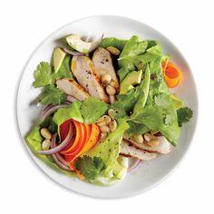 Cleaner, Smarter Summer Salad Recipes: Chicken, Avocado, and Peanut Salad with Grapefruit-Chive Vinaigrette | CookingLight.com