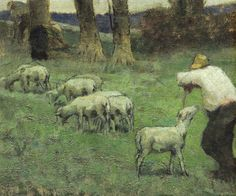 'Shepherd and his Sheep' - Adolphe Valette (1876-1942)