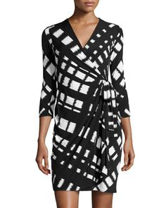 Lattice-Print Jersey Wrap Dress, Black/White by Donna Morgan at Neiman Marcus Last Call.