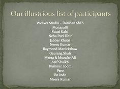 Our illustrious list of participants