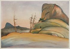 "Chiura Obata: ""Death's Grave Pass and Tenaya Peak, High Sierra, USA (from the 'World Landscape Series')"", 1930; color woodcut."