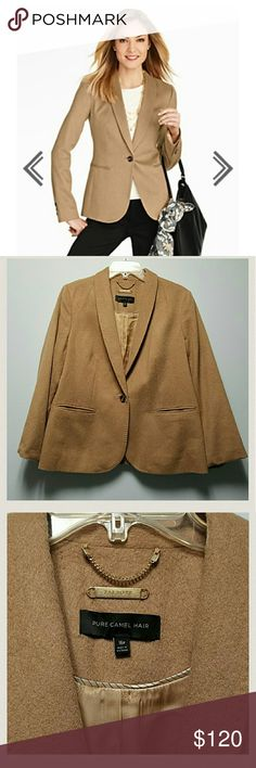 Talbots Luxe camel hair jacket An elegant classic, a touch of luxury with a touch of style.    *Shawl collar    *Single button front    *Besom pockets    *Back vent    *Fully lined with 55% polyester, 45% viscose    *Shell:  100% camel hair Talbots Jackets & Coats