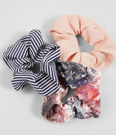 BKE 3 Pack Hair Scrunchies - Women's Hair Accessories in Blush Navy Multi Head Accessories, Hair Accessories For Women, Teen Swag Outfits, Cute Outfits, Hair Supplies, Velvet Scrunchie, Blush, H Style, Trends