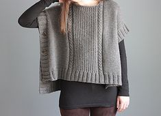 Margo Poncho pattern - seamless, easy knitting pattern using aran/bulky weight yarn.