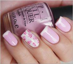 Rose nails with OPI nail polish. Accent Nails, Rose Nails, Pink Nails, Flower Nails, Sexy Nails, Gorgeous Nails, Pretty Nails, Perfect Nails, Fabulous Nails