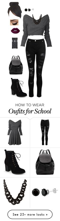 """""""Rebel high school"""" by goddessofbacon on Polyvore featuring Dorothy Perkins, Journee Collection, Charlotte Russe, Lime Crime and Witchery"""