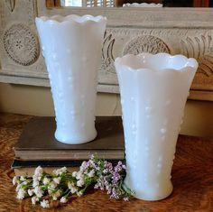 Vintage Milk Glass Pair of Milk Anchor Hocking Tear Drop Vases by SherwoodVintage on Etsy