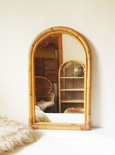 Large vintage bamboo mirror by VelvetEra on Etsy