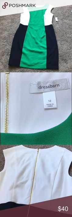Dress Barn Colorblock Dress Brand new dress from Dress Barn, size 12, NWT. Colorblocking design with white, green and navy blue. No trades. Comment with questions :) Dress Barn Dresses