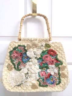 GORGEOUS Vintage 1950's Straw Beaded Floral Hand Bag by Caron Purse for Spring or Summer by OldParisVintage on Etsy