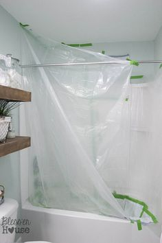 Here is how to cover your entire shower with a drop cloth to avoid any major mistakes or messes! How to Spray Paint Shower Fixtures (without the plumbing work) Diy Bathroom Remodel, Shower Remodel, Bathroom Ideas, Paint Bathroom, Design Bathroom, Bathroom Cabinets, Bathroom Remodeling, Remodeling Ideas, Small Bathroom