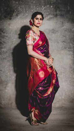 Indian Wedding Wear, Indian Bridal Outfits, Indian Bridal Fashion, Indian Dresses, Saree Draping Styles, Saree Styles, Maharashtrian Saree, Marathi Saree, Marathi Bride