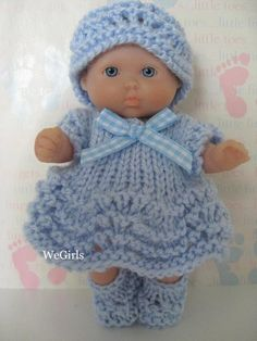 Knit Pattern Cute Dress Set for 5 inch Berenguer itty bitty baby doll feather n fan pattern Instant Yarn Dolls, Knitting Dolls Clothes, Baby Doll Clothes, Crochet Doll Clothes, Knitted Dolls, Crochet Dolls, Baby Clothes Patterns, Doll Patterns, Knitting Patterns