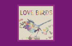 Love Birds Romantic Bird Hearts Purple