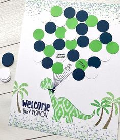 This Lime Green and Navy Dinosaur Baby Shower or Birthday Party Guest Book Alternative is the perfect addition to your dinosaur party decor Let guests leave a lasting memento by signing a balloon to complete the adorable  dino print.  You can include babys name to make it personalized or change the text to read Happy Birthday ___________. I can always customize with ANY COLORS or ANY TEXT The listing picture shows an 11x14 print  to help with sizing. BALLOONS DO NOT COME ATTACHED. GLUE DOTS NOT  Baby Boy Birthday Decoration, Baby Shower Decorations For Boys, Birthday Party Decorations, Baby Shower Signs, Baby Boy Shower, Baby Showers, Dinosaur Birthday Party, Baby Birthday, Elmo Party