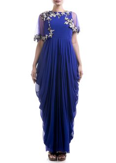 indigo blue attached cape dhoti gown