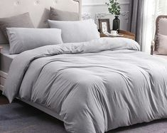PURE ERA Cotton Jersey Knit Home Bedding Sets, Luxurious Duvet cover/Comforter Cover/Quilt Cover/Doona Cover, Solid Pink Queen King Apartment Room, Light Grey Bedding, Grey Bed Sheets, Bed, Comfortable Bedroom, Comforter Cover, Bedding Sets, Grey Comforter Bedroom, New Room