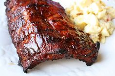 Barbecued Baby Back Ribs. Saucy slow-baked Barbecued Baby Back Ribs Rib Recipes, Cooking Recipes, Yummy Recipes, Cooking Rice, Cooking Bacon, Smoker Recipes, Sauce Recipes, Recipies, Dinner Recipes