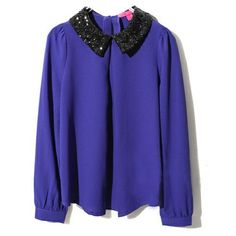 Blue Chiffon Top with Sequined Peter Pan Collar ($77) ❤ liked on Polyvore