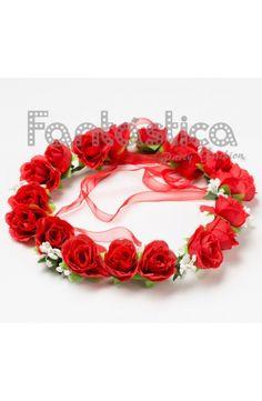 Corona de Flores Rojo para el Pelo - Diadema de Flores para Mujer I