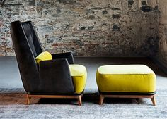 Vibieffe Opera High Back Armchair - a new version of the Opera chair with a distinctive high back.  Designed by Gianluigi Landoni for Vibieffe and seen here in black leather with saffron yellow velvet and a matching footstool.