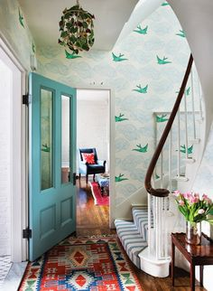 Bright, whimsical and fun. Might be another option for our front door when we're tired of green!