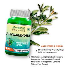 Morpheme Ashwagandha (Withania somnifera) For Anti-stress & Energy. Helps in reducing chronic stress. Helps in boosting stamina and endurance.