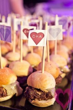 Wedding reception hamburger sliders are great for a snack as the party goes on and the group gets smaller. Hamburger Sliders, Gourmet Burgers, Burger Bar, Wedding Reception Food, Wedding Ideas, Wedding Foods, Barbados Wedding, Turkey Burgers, Veggie Burgers