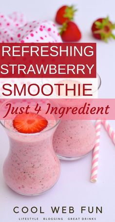 Easy and healthy 4 ingredient strawberry smoothie recipe for a healthy breakfast. Strawberry smoothie recipe is for kids and everyone else can enjoy with full of protein, fresh and creamy strawberry smoothie. recipes for kids Strawberry Yogurt Smoothie, Smoothie Recipes With Yogurt, Smoothie Recipes For Kids, Breakfast Smoothie Recipes, Yogurt Smoothies, Raspberry Smoothie, Yummy Smoothies, Smoothie Detox, Healthy Kids Smoothies
