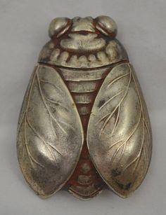 Antique Figural Cicada Match Safe Vesta Sterling? Match Holder