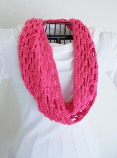 Hot Pink Mobius Scarf Crochet Lace Cowl Infinity Circle Scarf Vegan by Bluestockinette for $33.00