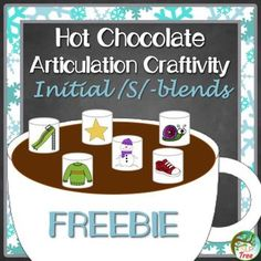 FREE Hot Chocolate Articulation Craftivity Initial /s/-blend Freebie! Full page hot chocolate mug with 20 initial /s/-blend picture marshmallows