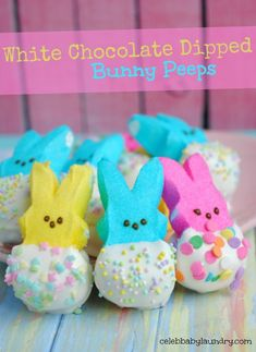 White Chocolate Dipped Bunny Peeps #Easter #BunnyPeeps  With Easter just a month away, it is a perfect time to start getting the kids excited about the holiday. A perfect way to do this is with some fun Easter themed recipes.