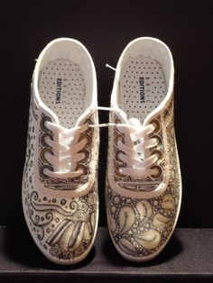 Zentangled Shoes Size 10  by Fifi by LuluFifi on Etsy, $30.00