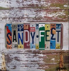 Funky Sandy Feet Word Block - Custom Words Available - Recycled Vintage License Plate Sign Art - Salvaged Wood - Upcycled Artwork