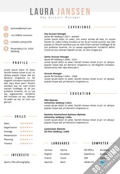 template for cv in word