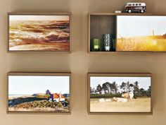 Such a good idea to decoupage old wine boxes and use as wall art and storage!