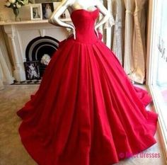 Satin Prom Dresses,Princess Prom Dress,Ball Gown Prom Gown,Red Prom Gown,Elegant Evening Dress,Modest Evening Gowns,Ruffled Party Gowns PD20184793