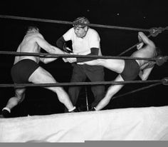 Babe Ruth serves a guest referee for a 1945 pro wrestling match between Steve Casey and Sandor Szabo