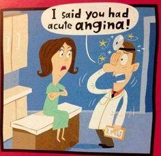 "Nursing Humor/ Medical Humor Too funny. Hehee ""angina"" hehee gets me every time Medical Jokes, Doctor Humor, Animal Jokes, Lol, Funny Bunnies, Nurse Humor, Ems Humor, Grammar Humor, Work Humor"