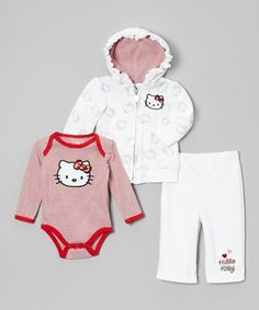 Take a look at this Bright White Hello Kitty Velour Zip-Up Hoodie Set - Infant by Hello Kitty on #zulily today!
