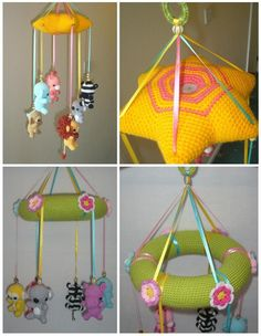 A crocheted crib mobile with crocheted zoo animals.