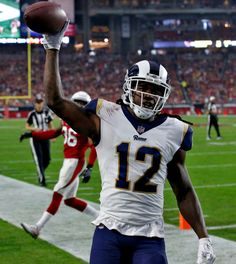 NFL Rams vs. Cardinals: Los Angeles Rams wide receiver Sammy Watkins (12) scores a touchdown against the Arizona Cardinals during the second half of an NFL football game, Sunday, Dec. 3, 2017, in Glendale, Ariz. (AP Photo/Ross D. Franklin)   Game #12 2017: Rams win Cardinals, LA Rams-32 vs. Cardinals-16 @ Arizona, Rams improves to 9-3, 1st NFC West. (twitter.image) 12.3.17 (Sun)